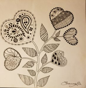 hearts and flowers zentangle in OA recovery