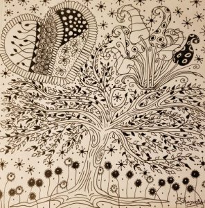 Hearts and tree zentangle in OA recovery
